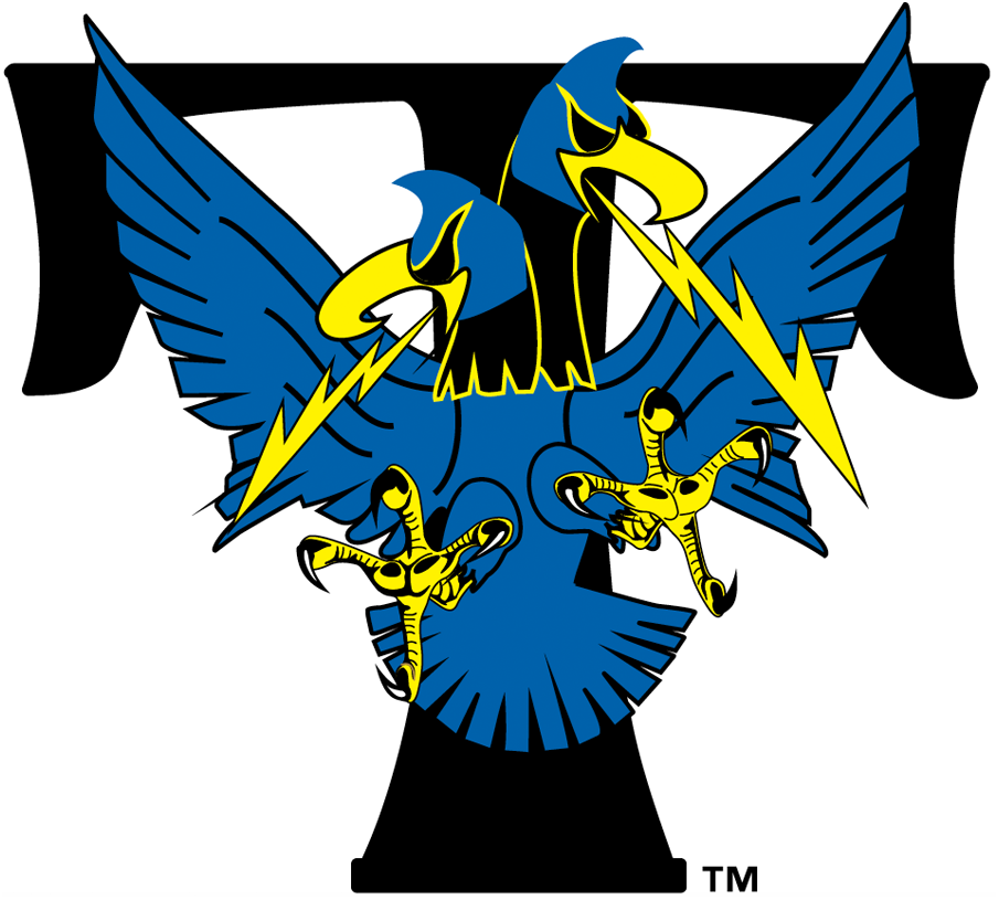 Trenton Thunder Logo Primary Logo (1994-2001) - A black T with a two-headed bird shooting lightning from their mouths SportsLogos.Net