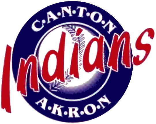 Canton-Akron Indians Logo Primary Logo (1989-1996) - 'Indians' in red over a blue circle and baseball SportsLogos.Net