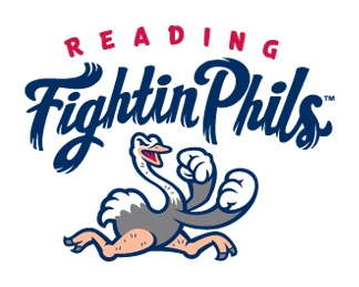 Reading Fightin Phils Logo Primary Logo (2013-Pres) - A ostrich raising its fists as it prepares for a fight underneath the team name in red and blue.  The ostrich is based off of the Crazy Hot Dog Vendor, team mascot of the Reading Phillies and Fightin Phils SportsLogos.Net
