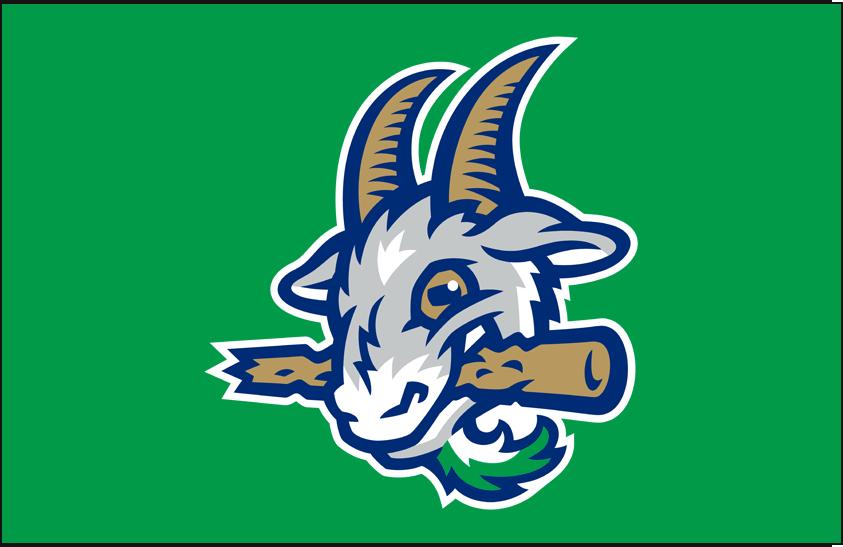 Hartford Yard Goats Logo Cap Logo (2016-Pres) - Goat head on a green cap, worn as Yard Goats road cap SportsLogos.Net