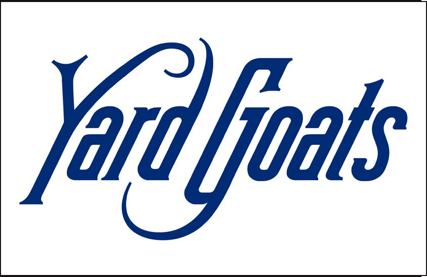 Hartford Yard Goats Logo Jersey Logo (2016-Pres) - Yard Goats in blue on white, worn on Hartford Yard Goats home jersey starting in 2016 SportsLogos.Net