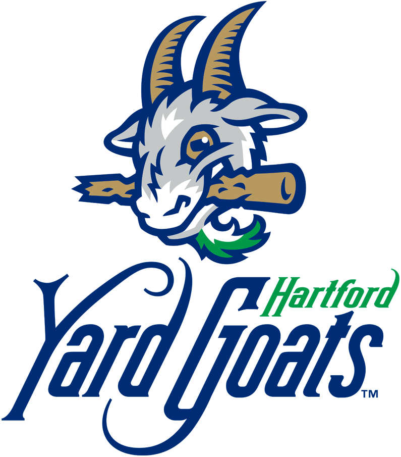 Hartford Yard Goats Logo Primary Logo (2016-Pres) - A grey, white, and blue goat with gold horns and a green beard chewing on a baseball bat, team name below in green and blue script SportsLogos.Net