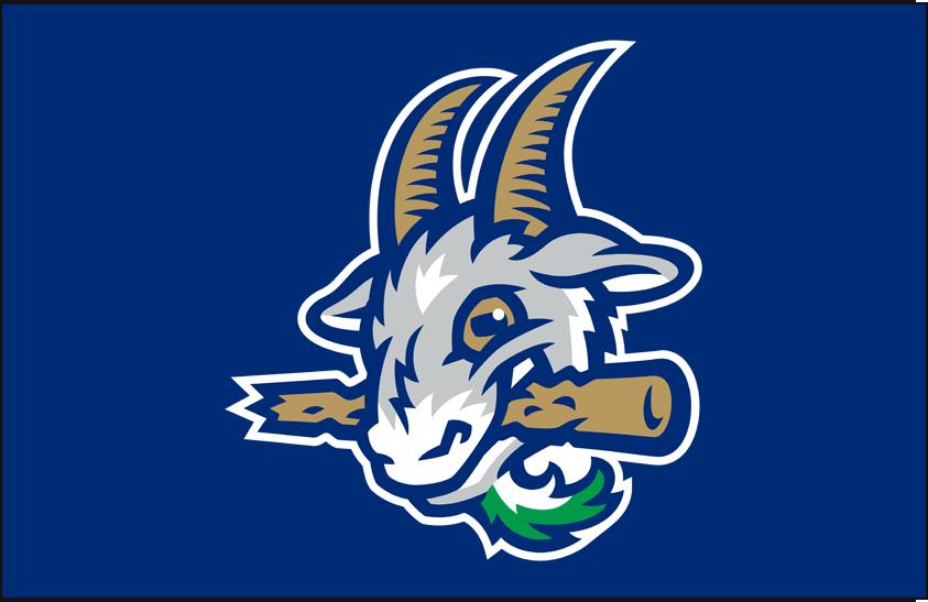 Hartford Yard Goats Logo Cap Logo (2016-Pres) - Goat head on a blue cap, worn as Yard Goats home cap SportsLogos.Net