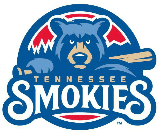 Tennessee Smokies Logo Primary Logo (2015-Pres) - Blue and beige coloured bear holding a baseball bat with pine tree and mountain scenery behind on red circle SportsLogos.Net