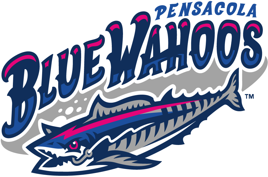 Pensacola Blue Wahoos Logo Primary Logo (2012-Pres) - Blue Wahoo Fish, breaking free from his fishing line, under wordmark SportsLogos.Net