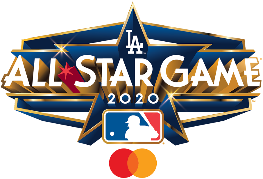 MLB All-Star Game Logo Unused Logo (2020) - The logo for the 2020 Major League All-Star Game (shown here with the sponsor MasterCard logo) featured a Hexagon shape is for the Dodger Stadium scoreboard with gold and deco lettering as a nod to Hollywood. The game was ultimately cancelled due to the COVID-19 pandemic, but this logo was recycled with a new year in its place for the 2022 MLB All-Star Game.  SportsLogos.Net