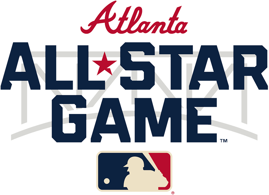 MLB All-Star Game Logo Unused Logo (2021) - The original 2021 Major League Baseball All-Star Game wordmark logo, like the primary mark, incorporates the steel truss of the entrance to Truist Park in its design as well as the Braves familiar wordmark logo above. The game was moved to Denver, Colorado just two days into the 2021 season in opposition to Georgia's controversial new voting laws. SportsLogos.Net