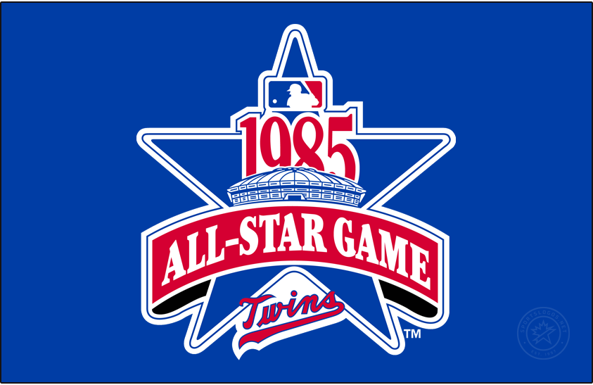 MLB All-Star Game Logo Primary Dark Logo (1985) - The logo for the 1985 Major League Baseball All-Star Game featured a depiction of the HHH Metrodome in Minneapolis, the host stadium of the game, on a large blue star. Across the star is a red banner reading All-Star Game in white, the year of the event 1985 above, and the Minnesota Twins primary scripted wordmark logo below in red and blue. This game was hosted by the Minnesota Twins, played at the HHH Metrodome in Minneapolis on July 16, 1985. SportsLogos.Net