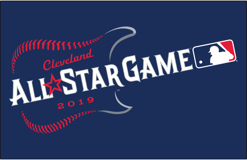 MLB All-Star Game Logo Primary Dark Logo (2019) - 2019 MLB All-Star Game logo on blue, game played in Cleveland, Ohio hosted by the Cleveland Indians SportsLogos.Net