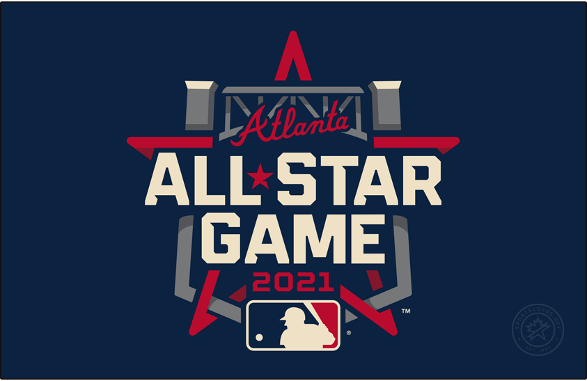 MLB All-Star Game Logo Unused Logo (2021) - The original 2021 Major League Baseball All-Star Game logo incorporates the steel truss of the entrance to Truist Park in its design as well as the Braves familiar wordmark logo above. The game was moved to Denver, Colorado just two days into the 2021 season in opposition to Georgia's controversial new voting laws. SportsLogos.Net