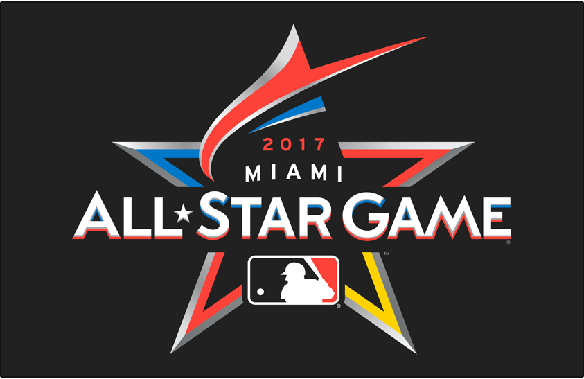 MLB All-Star Game Logo Primary Dark Logo (2017) - 2017 MLB All-Star Game Logo on black, game played in Miami, FL Marlins Park. A red-orange marlin shown leaping to form the top of a star.  SportsLogos.Net