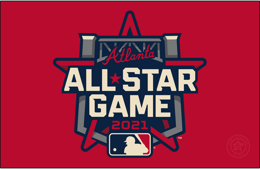 MLB All-Star Game Logo Primary Dark Logo (2021) - The 2021 Major League Baseball All-Star Game logo incorporates the steel truss of the entrance to Truist Park in its design as well as the Braves familiar wordmark logo above. This is the third time the Atlanta Braves have hosted the All-Star Game and the first time since 2000. The game is scheduled for July 13, 2021. SportsLogos.Net