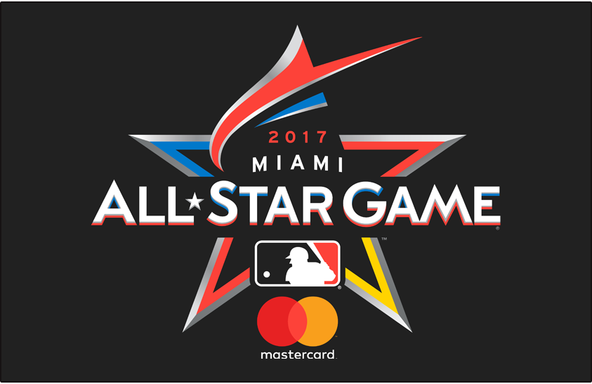 MLB All-Star Game Logo Sponsored Logo (2017) - 2017 MLB All-Star Game Logo on black with MasterCard logo. Game played in Miami, FL Marlins Park. A red-orange marlin shown leaping to form the top of a star.  SportsLogos.Net