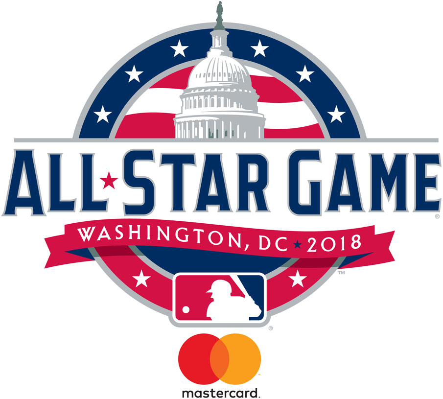 MLB All-Star Game Logo Sponsored Logo (2018) - 2018 MLB All-Star Game logo with MasterCard branding, game played in Washington , DC SportsLogos.Net