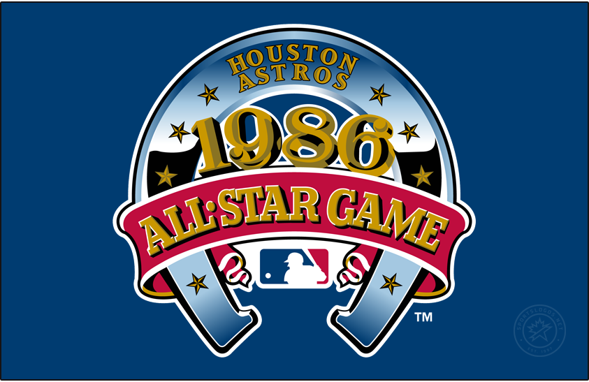 MLB All-Star Game Logo Primary Dark Logo (1986) - The 1986 Major League Baseball All-Star Game logo featured a large blue horseshoe turned upside down with eight gold stars on it. The year of the game, 1986, written across in gold with black drop shadowing, and a large red banner with All-Star Game written across it in gold. At the top of the horseshoe is the name of the host club, the Houston Astros, in gold. This game was played on July 15, 1986 at the Astrodome in Houston, Texas, home of the Houston Astros. SportsLogos.Net