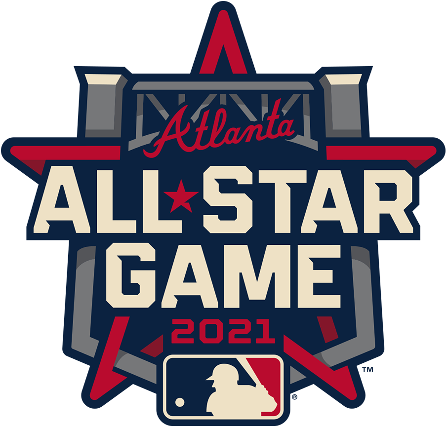 MLB All-Star Game Logo Primary Logo (2021) - The 2021 Major League Baseball All-Star Game logo incorporates the steel truss of the entrance to Truist Park in its design as well as the Braves familiar wordmark logo above. This is the third time the Atlanta Braves have hosted the All-Star Game and the first time since 2000. The game is scheduled for July 13, 2021. SportsLogos.Net