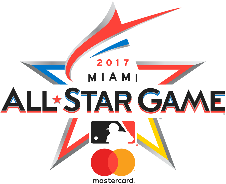 MLB All-Star Game Logo Sponsored Logo (2017) - 2017 MLB All-Star Game Logo in Miami, FL Marlins Park. A red-orange marlin shown leaping to form the top of a star with MasterCard logo SportsLogos.Net