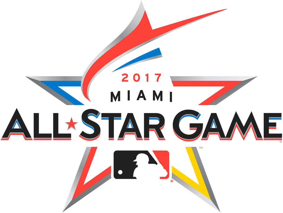 MLB All-Star Game Logo Primary Logo (2017) - 2017 MLB All-Star Game Logo in Miami, FL Marlins Park. A red-orange marlin shown leaping to form the top of a star.  SportsLogos.Net