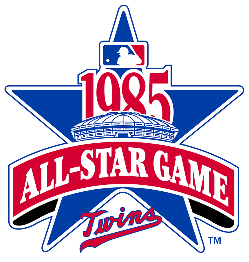 MLB All-Star Game Logo Primary Logo (1985) - The logo for the 1985 Major League Baseball All-Star Game featured a depiction of the HHH Metrodome in Minneapolis, the host stadium of the game, on a large blue star. Across the star is a red banner reading All-Star Game in white, the year of the event 1985 above, and the Minnesota Twins primary scripted wordmark logo below in red and blue. This game was hosted by the Minnesota Twins, played at the HHH Metrodome in Minneapolis on July 16, 1985. SportsLogos.Net