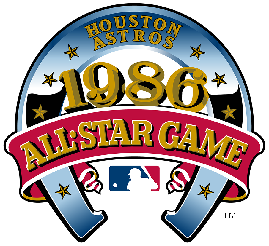 MLB All-Star Game Logo Primary Logo (1986) - The 1986 Major League Baseball All-Star Game logo featured a large blue horseshoe turned upside down with eight gold stars on it. The year of the game, 1986, written across in gold with black drop shadowing, and a large red banner with All-Star Game written across it in gold. At the top of the horseshoe is the name of the host club, the Houston Astros, in gold. This game was played on July 15, 1986 at the Astrodome in Houston, Texas, home of the Houston Astros. SportsLogos.Net