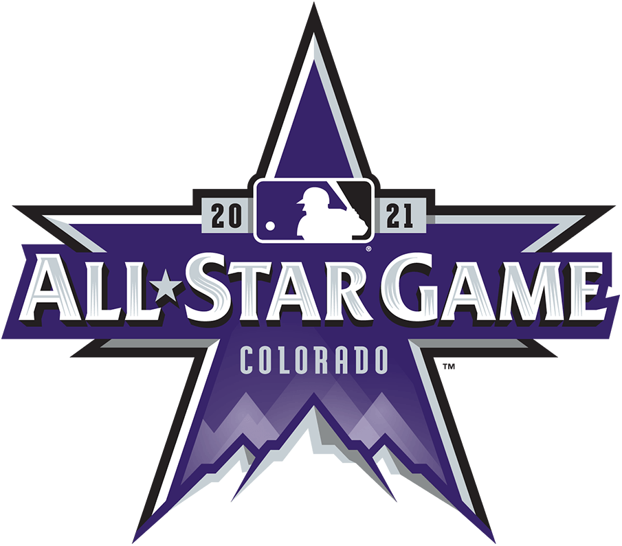 MLB All-Star Game Logo Primary Logo (2021) - The 2021 MLB All-Star Game logo is bathed in purple in reference to the host Colorado Rockies. The logo is a star shape with the tops of three Rocky Mountains at the bottom, across the logo in silver it reads ALL STAR GAME with COLORADO below and 2021 above flanking the MLB batterman logo. SportsLogos.Net