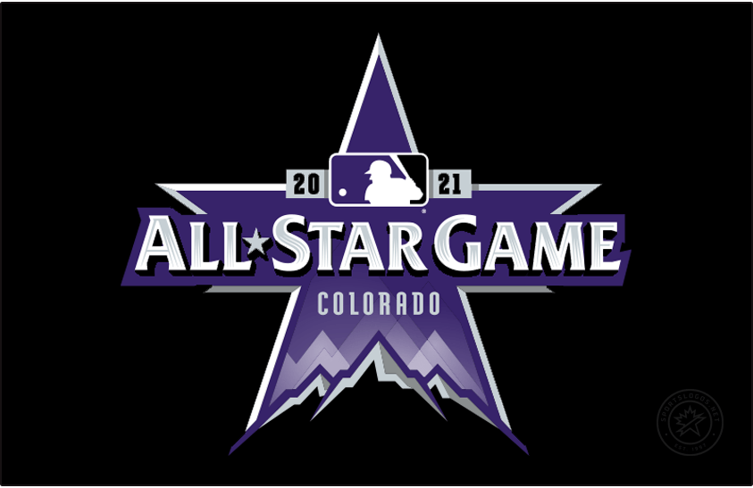 MLB All-Star Game Logo Primary Dark Logo (2021) - The 2021 MLB All-Star Game logo is bathed in purple in reference to the host Colorado Rockies. The logo is a star shape with the tops of three Rocky Mountains at the bottom, across the logo in silver it reads ALL STAR GAME with COLORADO below and 2021 above flanking the MLB batterman logo. SportsLogos.Net