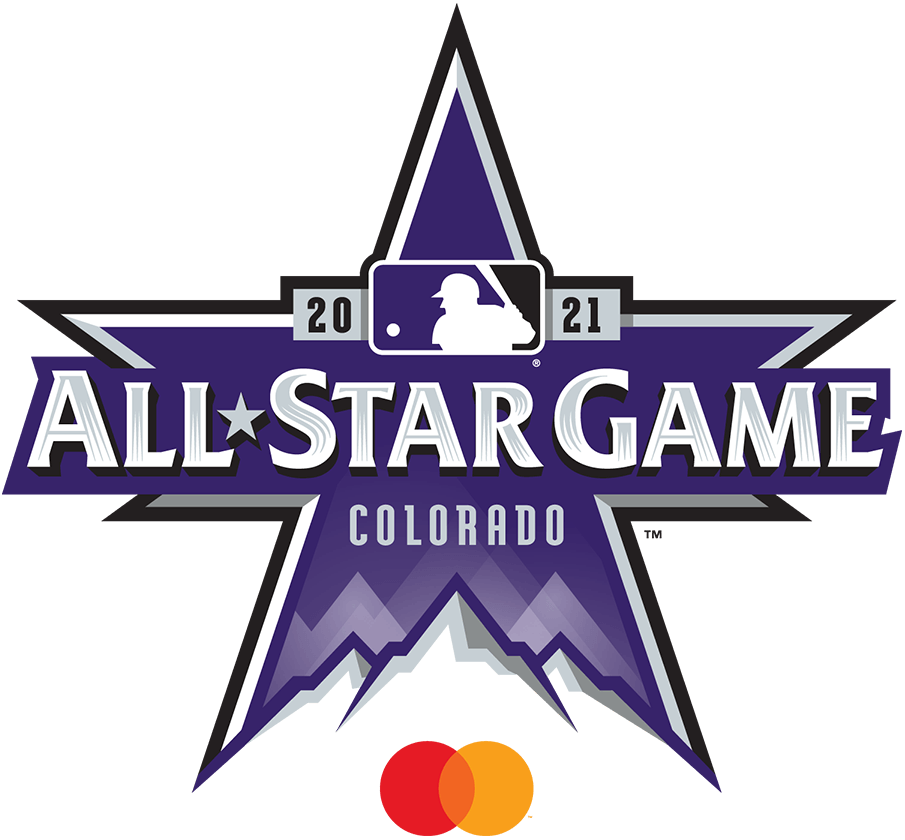 MLB All-Star Game Logo Sponsored Logo (2021) - The 2021 MLB All-Star Game logo is bathed in purple in reference to the host Colorado Rockies. The logo is a star shape with the tops of three Rocky Mountains at the bottom, across the logo in silver it reads ALL STAR GAME with COLORADO below and 2021 above flanking the MLB batterman logo. This version of the logo includes the MasterCard logo below. SportsLogos.Net