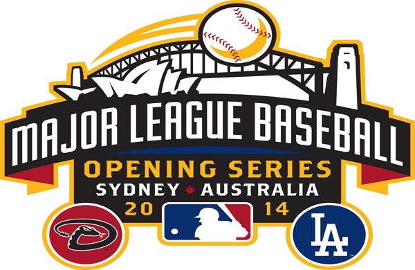 MLB Opening Day Logo Special Event Logo (2014) - 2014 MLB Opening Series in Sydney, Australia -- Los Angeles Dodgers vs Arizona Diamondbacks March 22-23, 2014 SportsLogos.Net