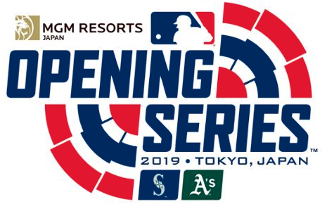 MLB Opening Day Logo Special Event Logo (2019) - 2019 MLB Opening Series in Tokyo, Japan Logo with Athletics and Mariners logos SportsLogos.Net