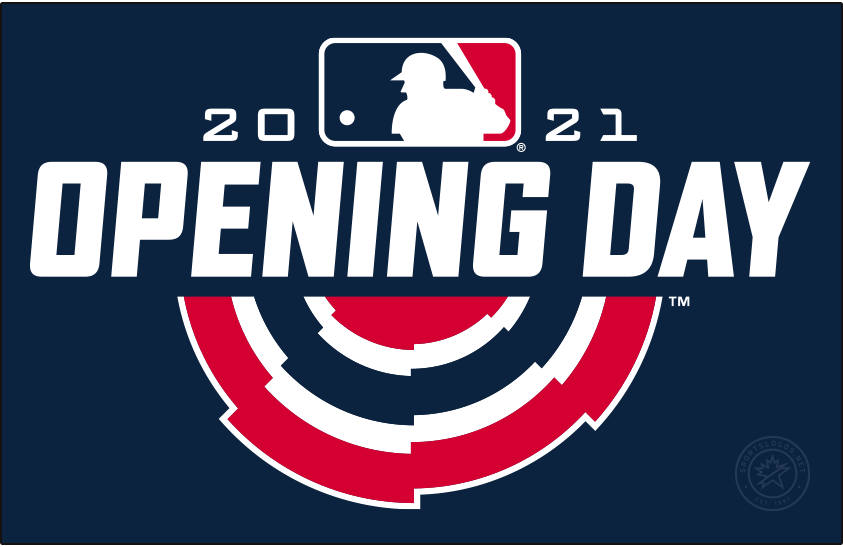 MLB Opening Day Logo Primary Dark Logo (2021) - The 2021 Major League Baseball Opening Day logo follows the same design template for the event first put in place four seasons prior in 2018. As with the previous three logos, the design (shown here on blue) includes a traditional red, white, and blue bunting used to decorate stadiums on opening day with OPENING DAY above it in white italics. The MLB logo sits above this flanked by the year 2021 SportsLogos.Net