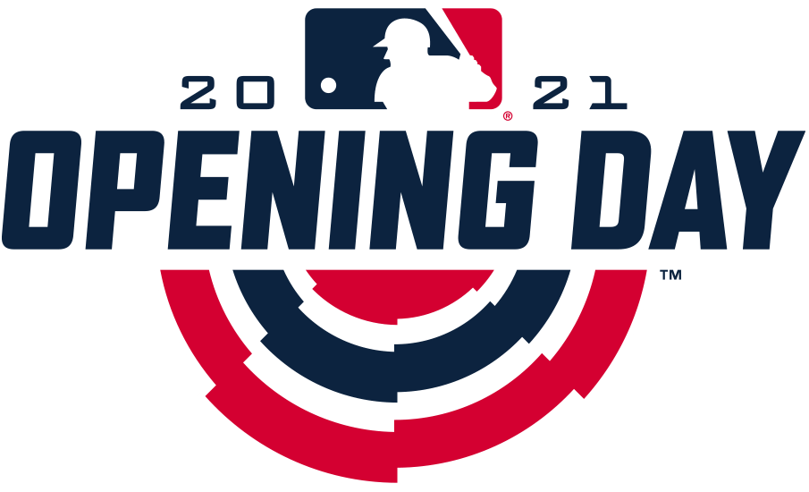 MLB Opening Day Logo Primary Logo (2021) - The 2021 Major League Baseball Opening Day logo follows the same design template for the event first put in place four seasons prior in 2018. As with the previous three logos, the design shows traditional red, white, and blue bunting used to decorate stadiums on opening day with OPENING DAY above it in navy blue italics. The MLB logo sits above this flanked by the year 2021 SportsLogos.Net