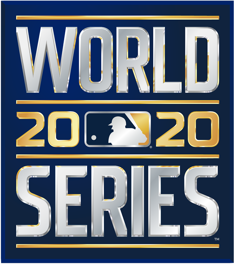 MLB World Series Logo Primary Logo (2020) - The 2020 World Series logo shows the words WORLD SERIES in a metallic gradient silver in all caps, sans serif lettering. This type is stacked vertically with the year 2020 in gold in between as well as the MLB logo in blue, white, and gold. The entire logo is placed on a navy blue rectangle with a subtle gradient. SportsLogos.Net