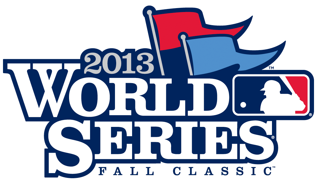 MLB World Series Logo Primary Logo (2013) - WORLD SERIES in white serifed font in all caps outlined in blue, two flags - one red and one blue (symbolizing the NL - red, and AL blue) fly overhead.  MLB primary logo to the right all above FALL CLASSIC in blue  SportsLogos.Net