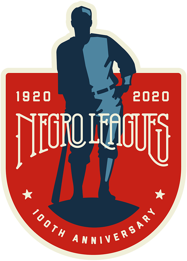Major League Baseball Logo Anniversary Logo (2020) - To commemorate the 100th anniversary of the first of the prominent Negro Leagues, all Major League Baseball players wore this logo as a patch on their jerseys for games played on August 16, 2020. The logo features the blue silhouette of a baseball player on a red shield, it reads NEGRO LEAGUES in vintage white lettering across the front and the years 1920 2020 in the upper corners. This logo was originally created by and for the Negro Leagues Baseball Museum in Kansas City. SportsLogos.Net