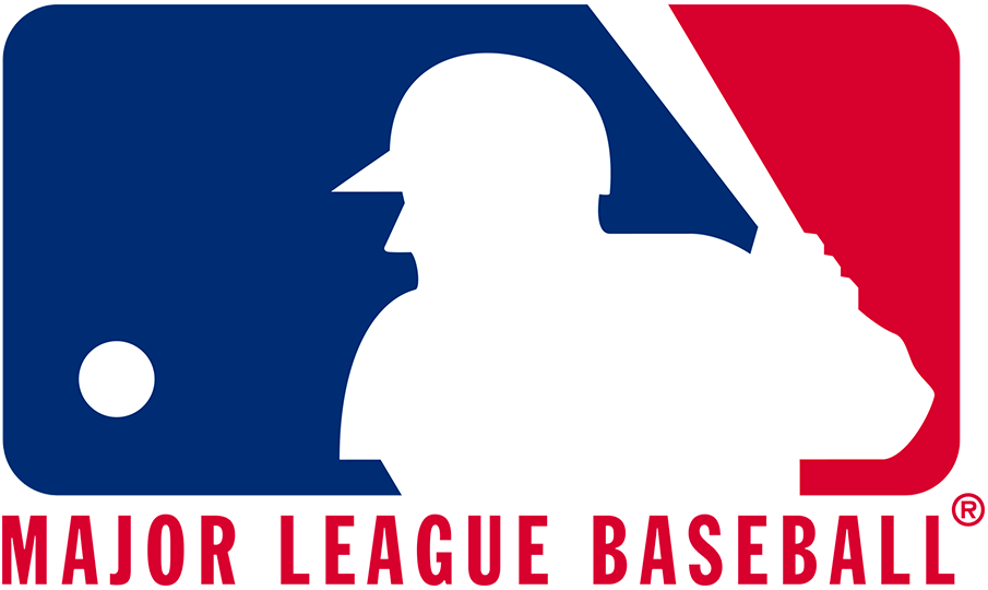 Major League Baseball Logo Primary Logo (1992-2018) - A batter in white, with red and blue on either side. The shade of blue was darkened and red brightened for the 1992 season, in 2019 the league darkened the colours and removed the wordmark. SportsLogos.Net