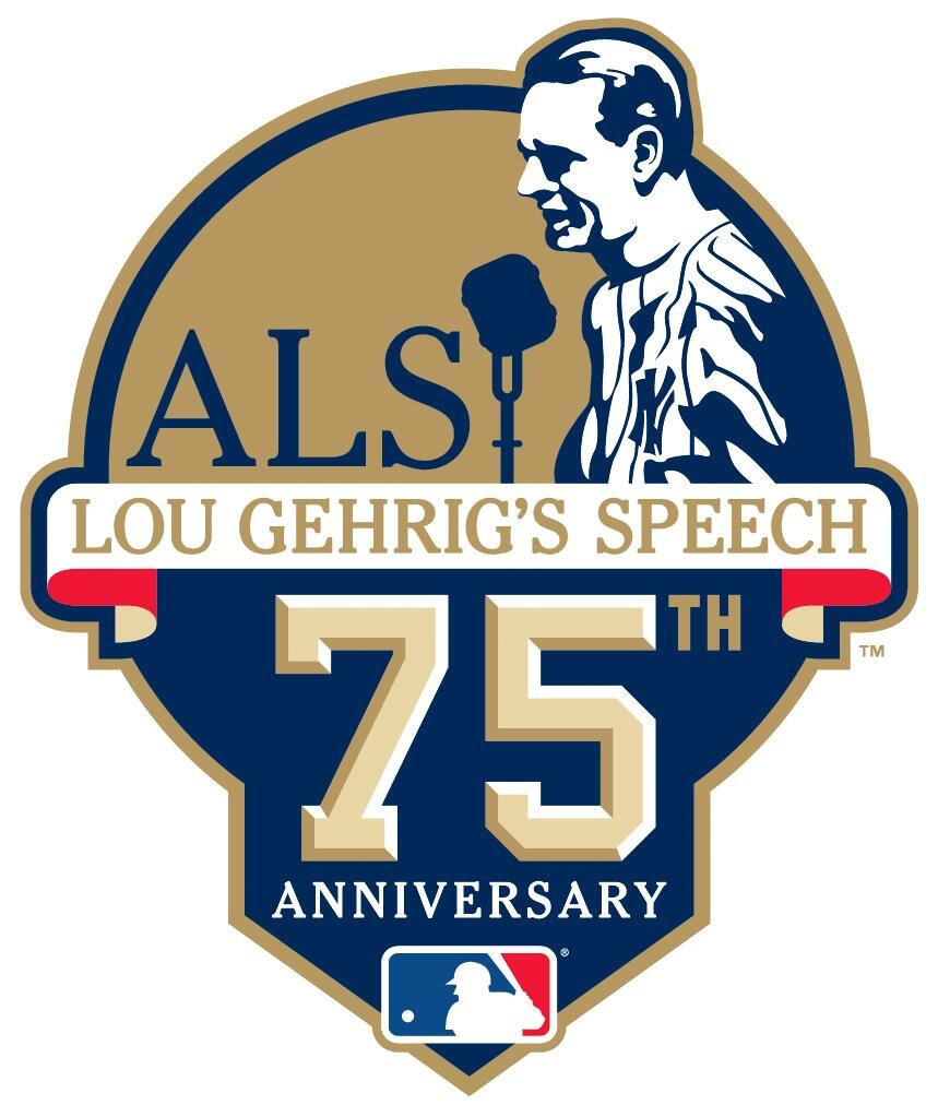 Major League Baseball Logo Anniversary Logo (2014) - Lou Gehrig speech 75th anniversary logo, worn by all MLB clubs as a sleeve patch during games played on July 4, 2014 SportsLogos.Net