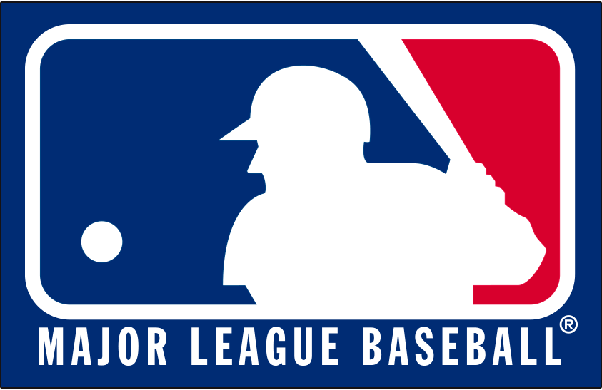 Major League Baseball Logo Primary Dark Logo (1992-2018) - MLB silhouetted batter logo with wordmark below on blue SportsLogos.Net