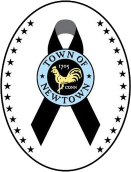 Major League Baseball Logo Memorial Logo (2013) - A black ribbon behind the town seal of Newtown, Connecticut with 26 black stars on either side inside a black and white oval.  The 26 black stars represent each of the victims of the Newtown school shooting. SportsLogos.Net