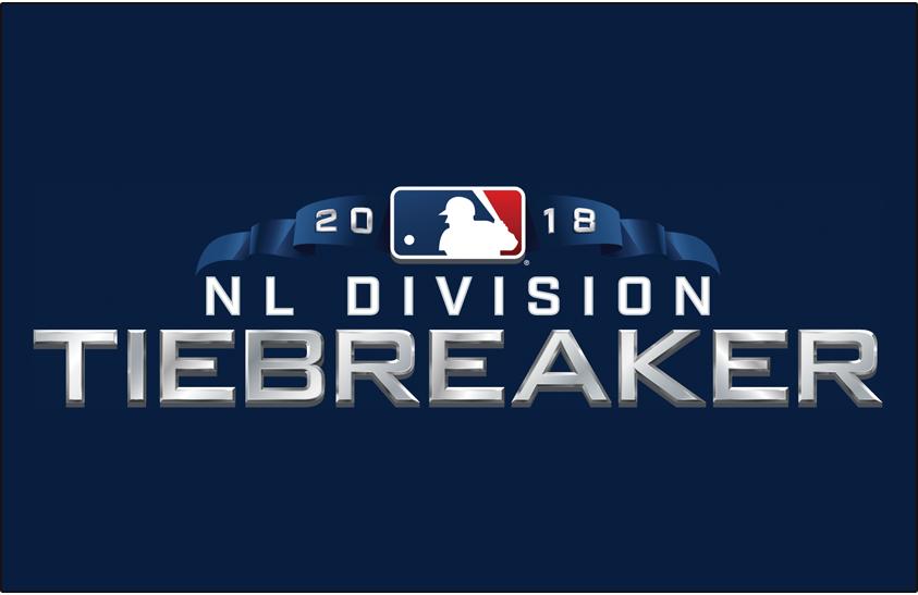 Major League Baseball Logo Special Event Logo (2018) - 2018 NL Division Tiebreaker Logo on blue SportsLogos.Net