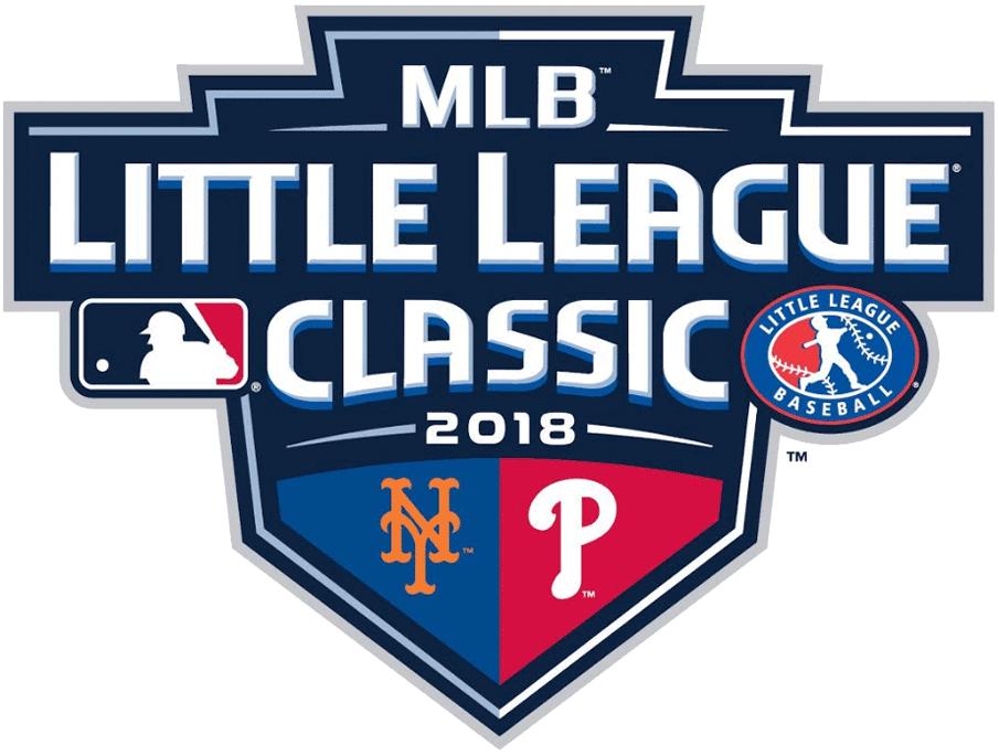 Major League Baseball Logo Special Event Logo (2018) - 2018 MLB Little League Classic Logo - New York Mets vs Philadelphia Phillies at Williamsport, Pennsylvania August 19, 2018 SportsLogos.Net