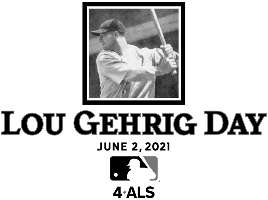Major League Baseball Logo Special Event Logo (2021) - Beginning with 2021, Major League Baseball celebrated Lou Gehrig Day for ALS research and awareness. The logo for the inaugural event shows a black and white photograph of Gehrig in a square above the event name and the date of June 2, 2021. SportsLogos.Net