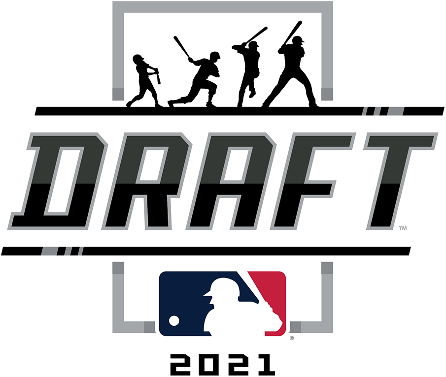 MLB Draft Logo Primary Logo (2021) - The 2021 Major League Baseball Draft logo features a progression of the silhouette of the famous MLB logo to show a player from youth to pros, this design is placed above DRAFT in black italics, the MLB logo in red, white, and blue, and the year 2021 at the bottom. SportsLogos.Net
