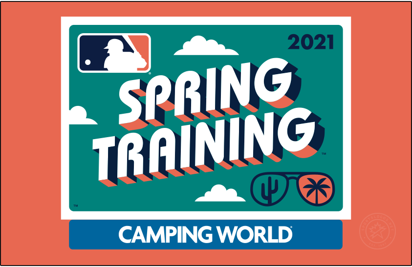 MLB Spring Training Logo Primary Dark Logo (2021) - The Major League Baseball Spring Training logo for 2021 plays off the theme of a retro postcard, the design shows a turquoise rounded rectangle with SPRING TRAINING popping off the card in a throwback style font with a navy blue and coral pink drop shadow. In the lower right corner is a pair of sunglasses reflecting a cactus for Arizona and a palm tree for Florida. Shown here on a coral pink background. SportsLogos.Net