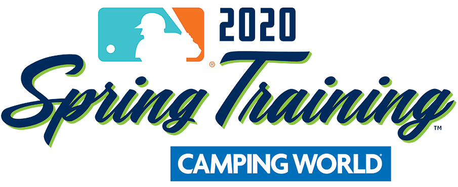 MLB Spring Training Logo Primary Logo (2020) - The Major League Baseball 2020 Spring Training logo features a navy blue script with a lime green drop shadow, the league logo above in teal and orange. SportsLogos.Net