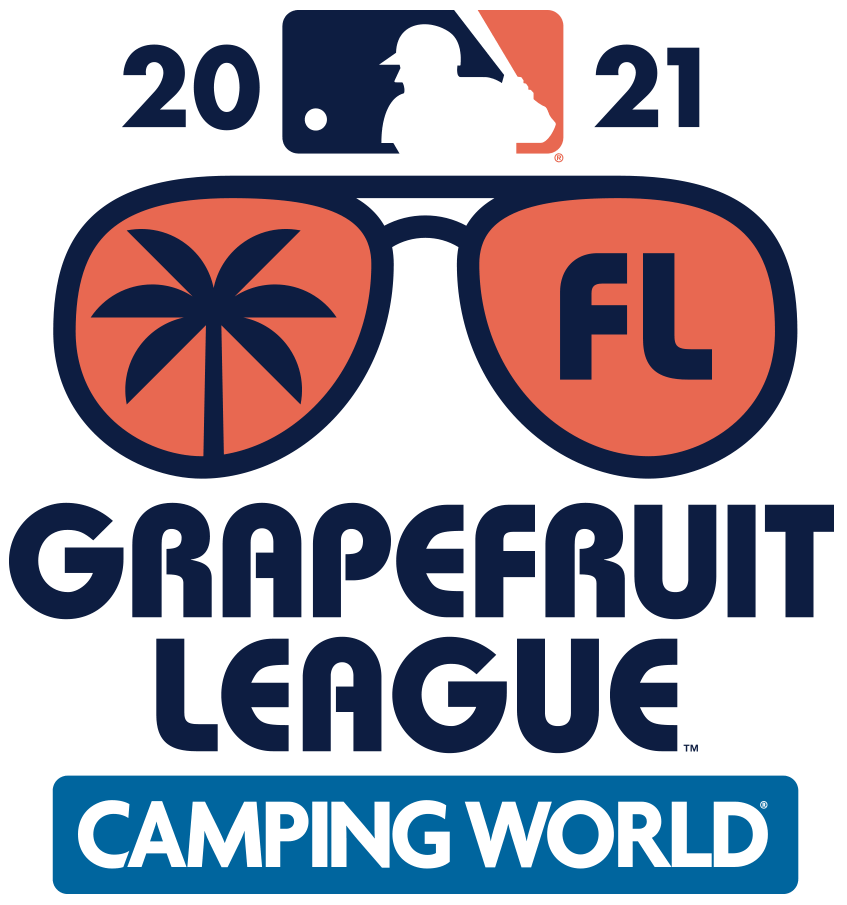 MLB Spring Training Logo Event Logo (2021) - The Major League Baseball Spring Training Grapefruit League logo for 2021 features a pair of sunglasses in coral, one lens shows a palm tree and the other shows an FL - the state abbreviation for Florida SportsLogos.Net