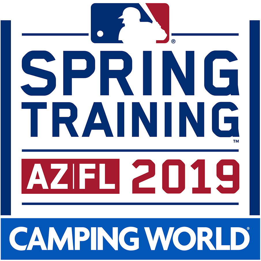 MLB Spring Training Logo Primary Logo (2019) - The Major League Baseball 2019 Spring Training logo featured SPRING TRAINING in navy above AZ FL 2019 in red. Though it is not clear with this design, the overall theme of Spring Training logos in 2019 was that of an airport luggage tag which can be seen in some of the alternate and team marks. SportsLogos.Net
