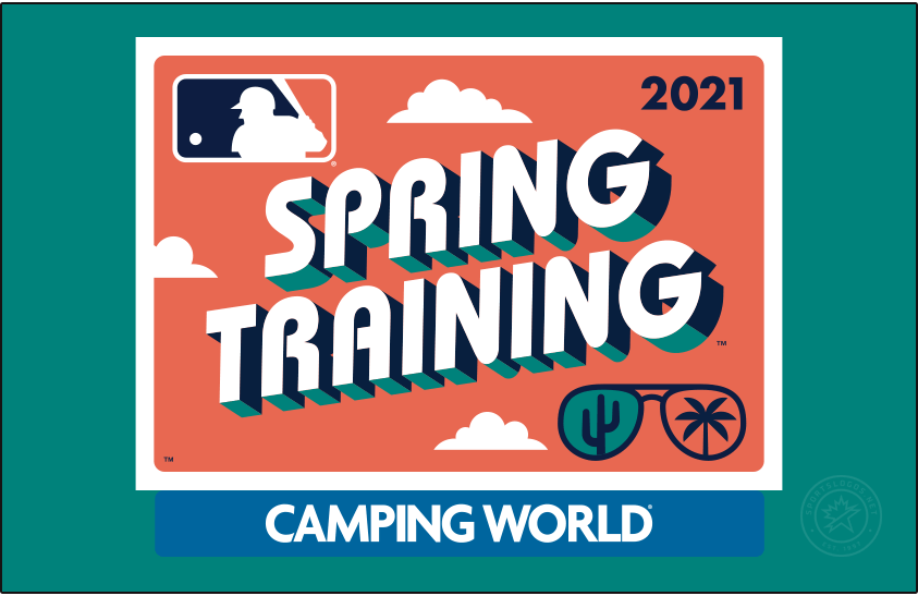 MLB Spring Training Logo Primary Dark Logo (2021) - The Major League Baseball Spring Training logo for 2021 plays off the theme of a retro postcard, the design shows a turquoise rounded rectangle with SPRING TRAINING popping off the card in a throwback style font with a navy blue and coral pink drop shadow. In the lower right corner is a pair of sunglasses reflecting a cactus for Arizona and a palm tree for Florida. Shown here on a turquoise background. SportsLogos.Net