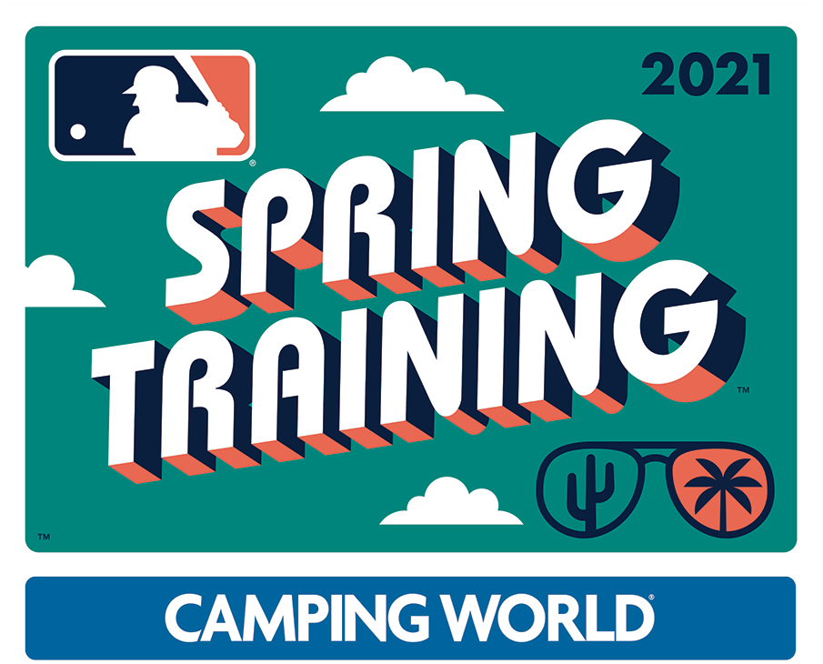MLB Spring Training Logo Primary Logo (2021) - The Major League Baseball Spring Training logo for 2021 plays off the theme of a retro postcard, the design shows a turquoise rounded rectangle with SPRING TRAINING popping off the card in a throwback style font with a navy blue and coral pink drop shadow. In the lower right corner is a pair of sunglasses reflecting a cactus for Arizona and a palm tree for Florida. SportsLogos.Net