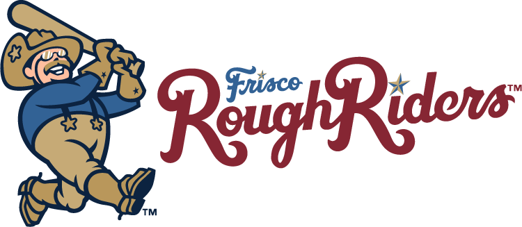 Frisco RoughRiders Logo Primary Logo (2015-Pres) - Teddy Roosevelt swinging a baseball bat next to team script in red and blue. SportsLogos.Net