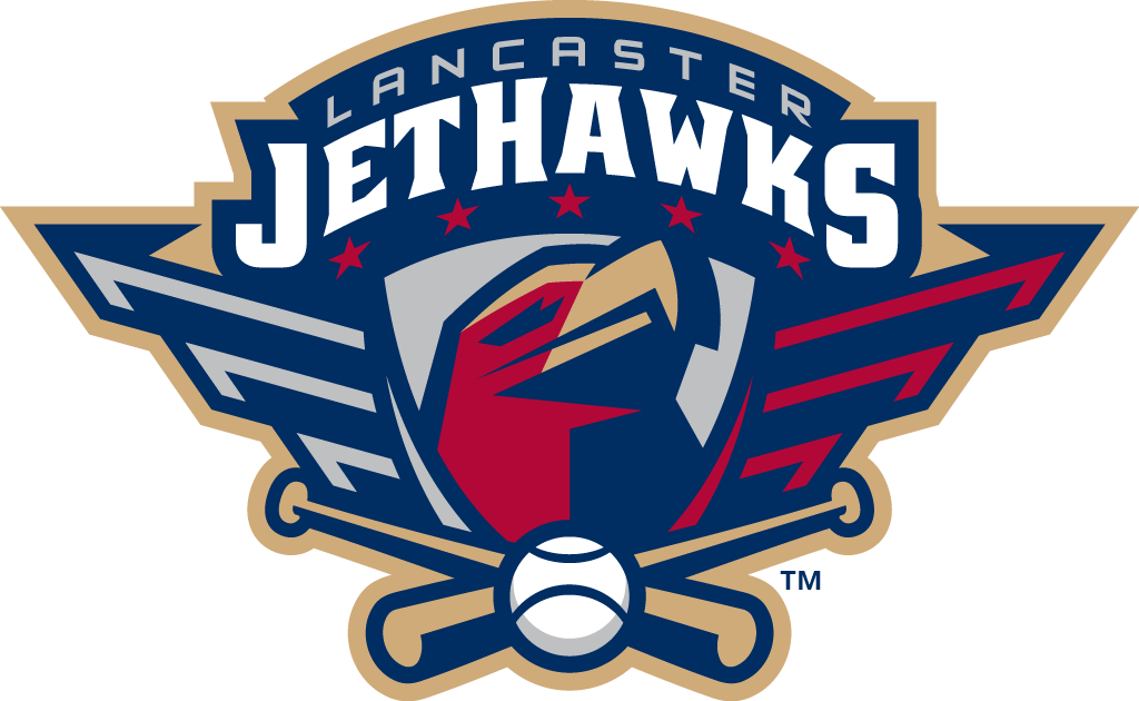 Lancaster Jethawks Logo Primary Logo (2008-Pres) - A red hawk head on a silver shield below team name and above crossed bats SportsLogos.Net